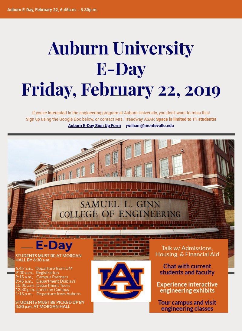 Auburn University E-Day | Piktochart Visual Editor