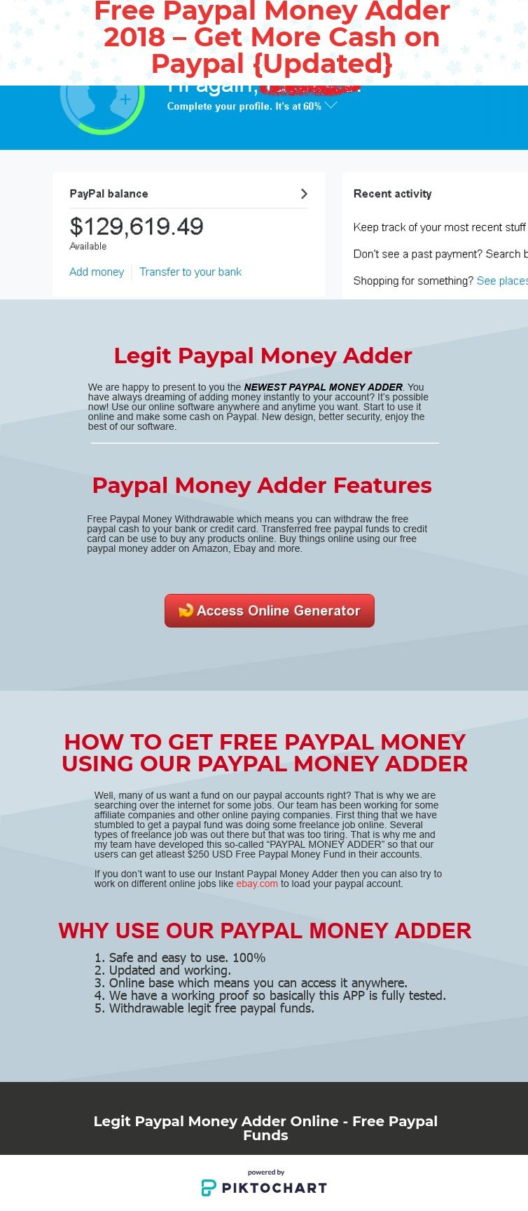 free paypal money adder 2018 get more cash on paypal piktochart visual editor