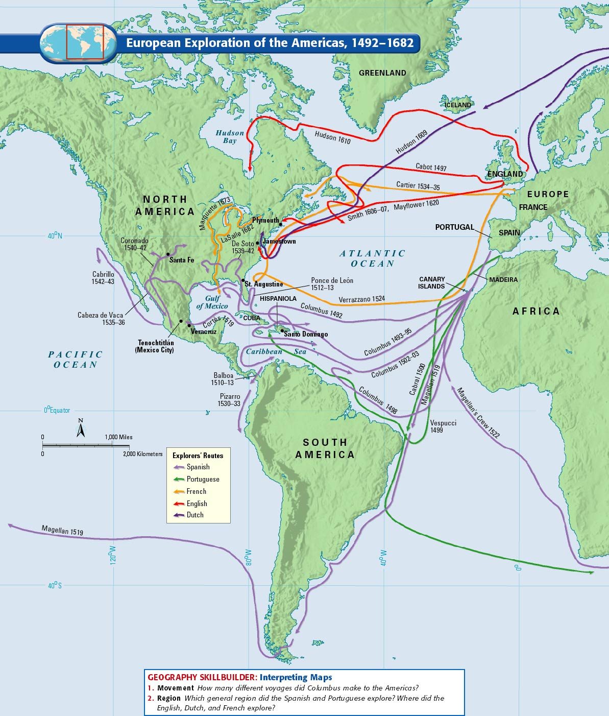 four west european explores that traveled to the new world The history of the european seaborne slave trade with africa goes back 50 years prior to columbus' initial voyage to the americas it began with the portuguese, who went to west africa in search.